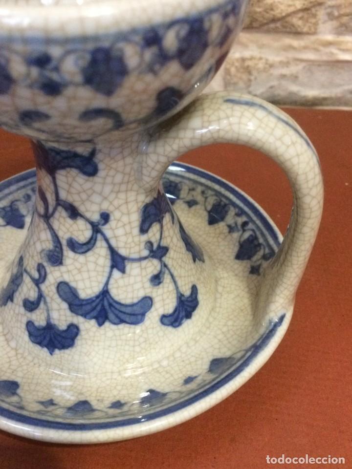 Antigüedades: Palmatoria portavelas cerámica craquelada Excelente estado - Foto 5 - 251022455