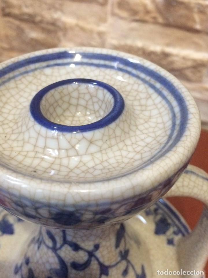 Antigüedades: Palmatoria portavelas cerámica craquelada Excelente estado - Foto 11 - 251022455
