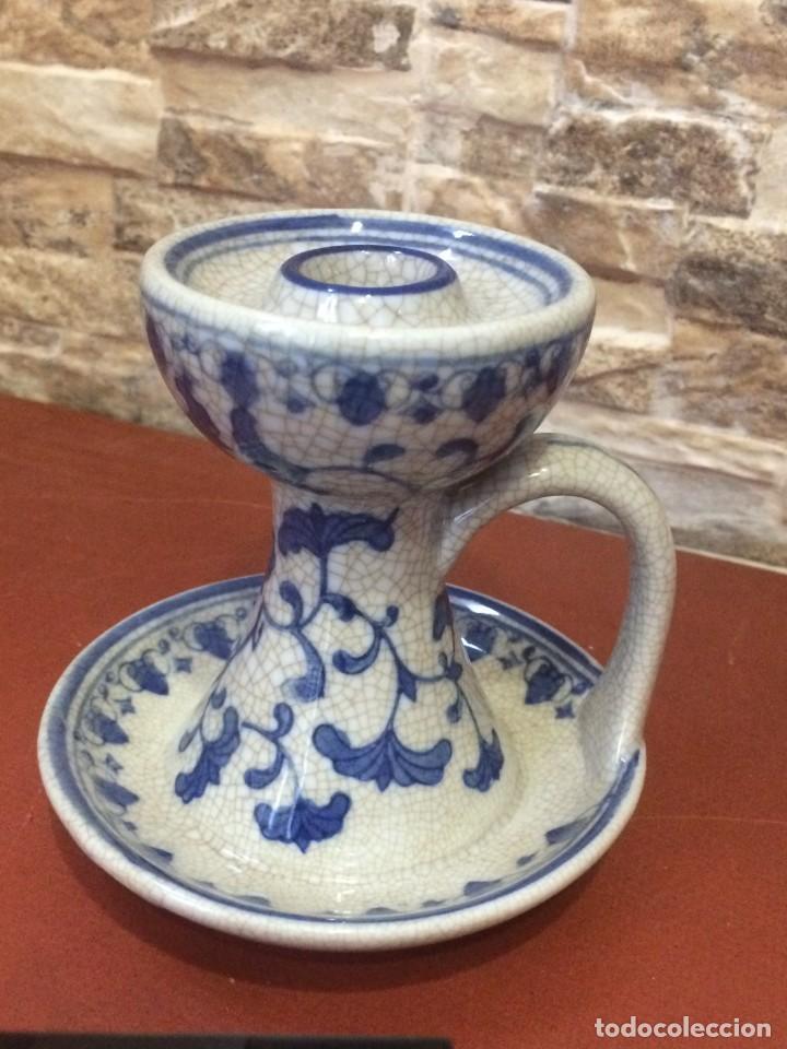 Antigüedades: Palmatoria portavelas cerámica craquelada Excelente estado - Foto 12 - 251022455