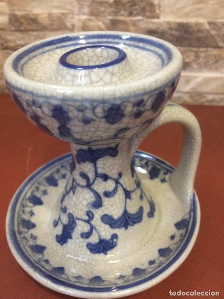 Antigüedades: Palmatoria portavelas cerámica craquelada Excelente estado - Foto 14 - 251022455