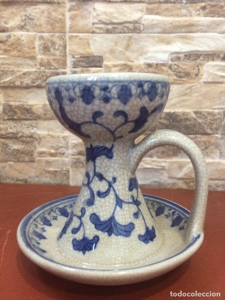 Antigüedades: Palmatoria portavelas cerámica craquelada Excelente estado - Foto 15 - 251022455