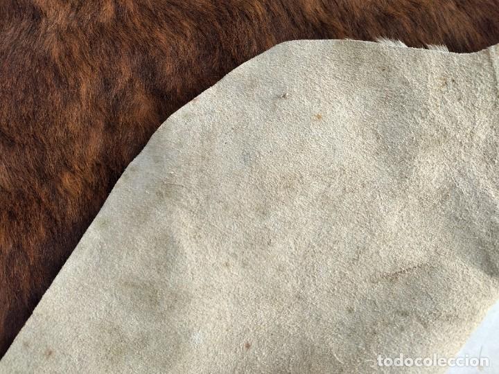 Antigüedades: Extraordinaria alfombra de piel de vaca, original preciosos tonos marrones. - Foto 14 - 251058165