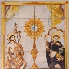 Antigüedades: ESPECTACULAR PANEL DE AZULEJOS - RETABLO CERÁMICO DE SAN VICENTE Y SAN JUAN BAUTISTA XIX. Lote 251064625