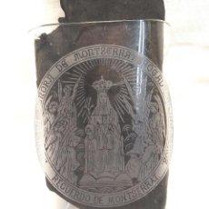 Antiquités: VASO CRISTAL FALTRIQUERA BALNEARIO MONASTERIO VIRGEN DE MONTSERRAT AÑOS 20, GRABADO AL ACIDO. Lote 251079220