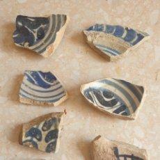Antigüedades: LOTE DE 7 FRAGMENTOS CERAMICA AZUL COBALTO A DETERMINAR PLATO CUENCO. Lote 251156695