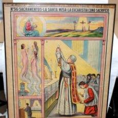 Antigüedades: CARTEL RELIGIOSO DE CATAQUESIS POR DIONIS BAIXERAS. ED. JOSE VILAMALA. Lote 251171535