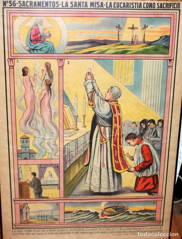 Antigüedades: CARTEL RELIGIOSO DE CATAQUESIS POR DIONIS BAIXERAS. ED. JOSE VILAMALA - Foto 2 - 251171535