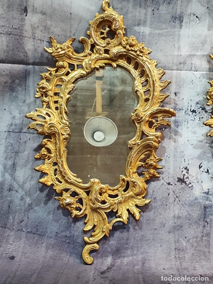 Antigüedades: PAREJA DE CORNUCOPIAS DE CALAMINA AL ORO FINO - Foto 3 - 251286885
