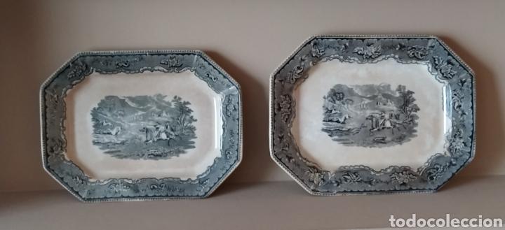 DOS BANDEJAS OCHAVADAS FABRICA LA AMISTAD (Antigüedades - Porcelanas y Cerámicas - Cartagena)