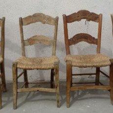 Antiguidades: 4 SILLAS RUSTICAS ANTIGUAS EN MADERA DE OLIVO TALLADO. Lote 251555450