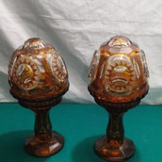 Antigüedades: PAREJA DE LÁMPARAS DE CRISTAL DE BOHEMIA. Lote 251564510