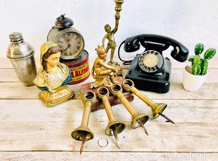 Antigüedades: ANTIGUOS SOPORTES DE LATÓN PARA BARRA DE CORTINA ALZAPAÑOS DE PARED CLÁSICOS CON CLAVO - Foto 9 - 170874440