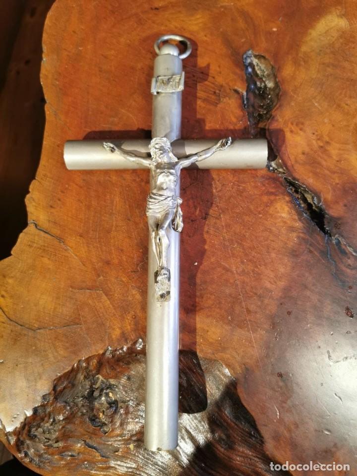 CRUCIFIJO DE BRONCE CROMADO 15X30 CM (Antigüedades - Religiosas - Crucifijos Antiguos)