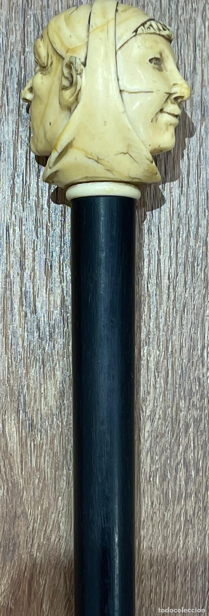 Antigüedades: Extraordinario bastón antiguo, con mango en marfil tallado, por gran maestro - Foto 3 - 251651505