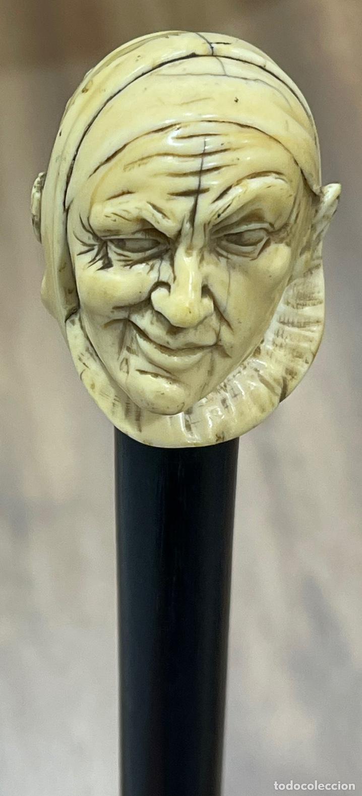 Antigüedades: Extraordinario bastón antiguo, con mango en marfil tallado, por gran maestro - Foto 7 - 251651505
