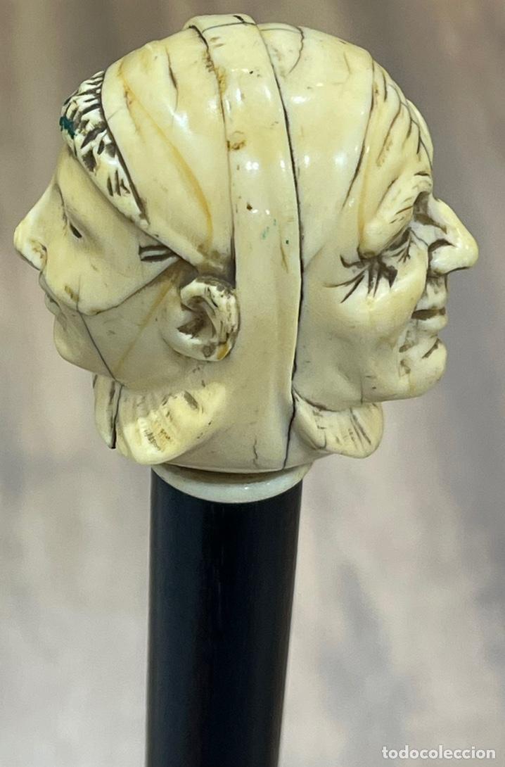 Antigüedades: Extraordinario bastón antiguo, con mango en marfil tallado, por gran maestro - Foto 8 - 251651505
