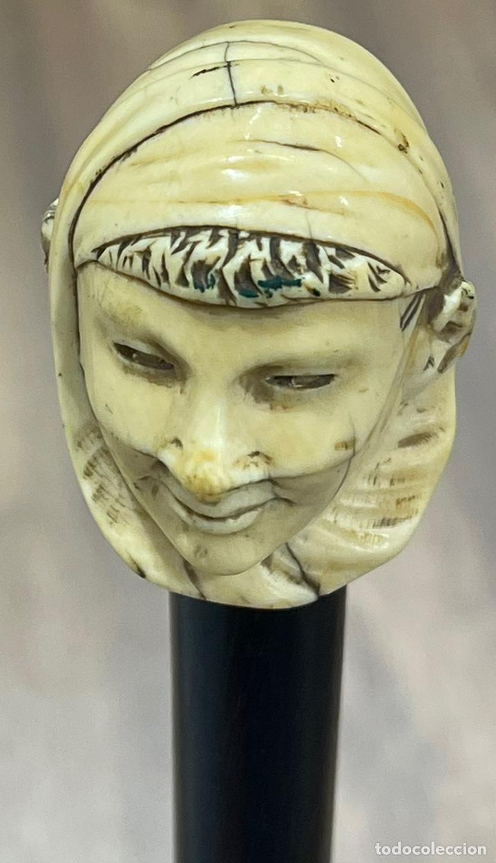 Antigüedades: Extraordinario bastón antiguo, con mango en marfil tallado, por gran maestro - Foto 9 - 251651505