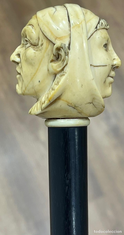 Antigüedades: Extraordinario bastón antiguo, con mango en marfil tallado, por gran maestro - Foto 10 - 251651505