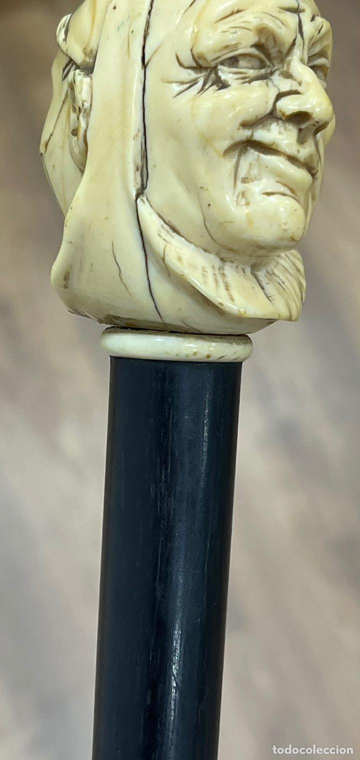 Antigüedades: Extraordinario bastón antiguo, con mango en marfil tallado, por gran maestro - Foto 11 - 251651505