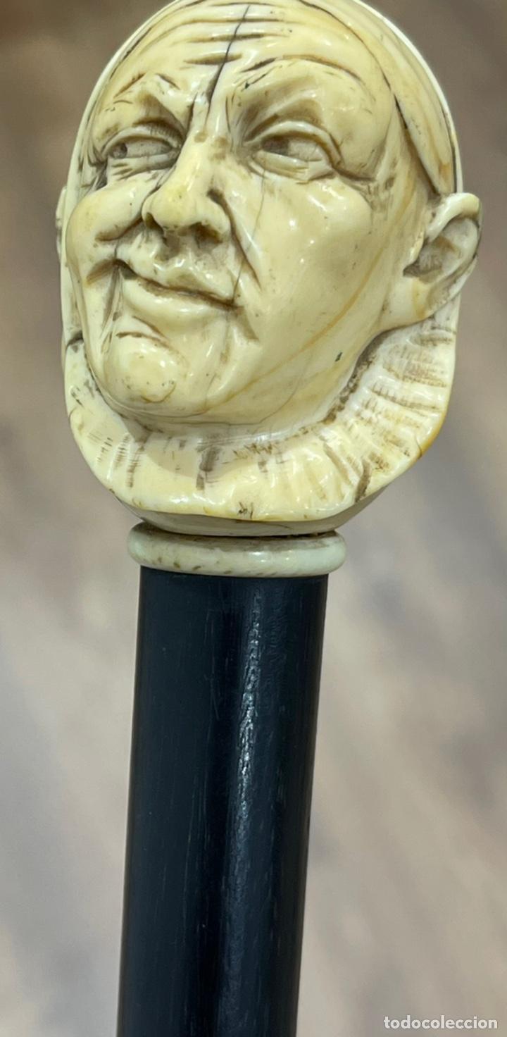 Antigüedades: Extraordinario bastón antiguo, con mango en marfil tallado, por gran maestro - Foto 12 - 251651505