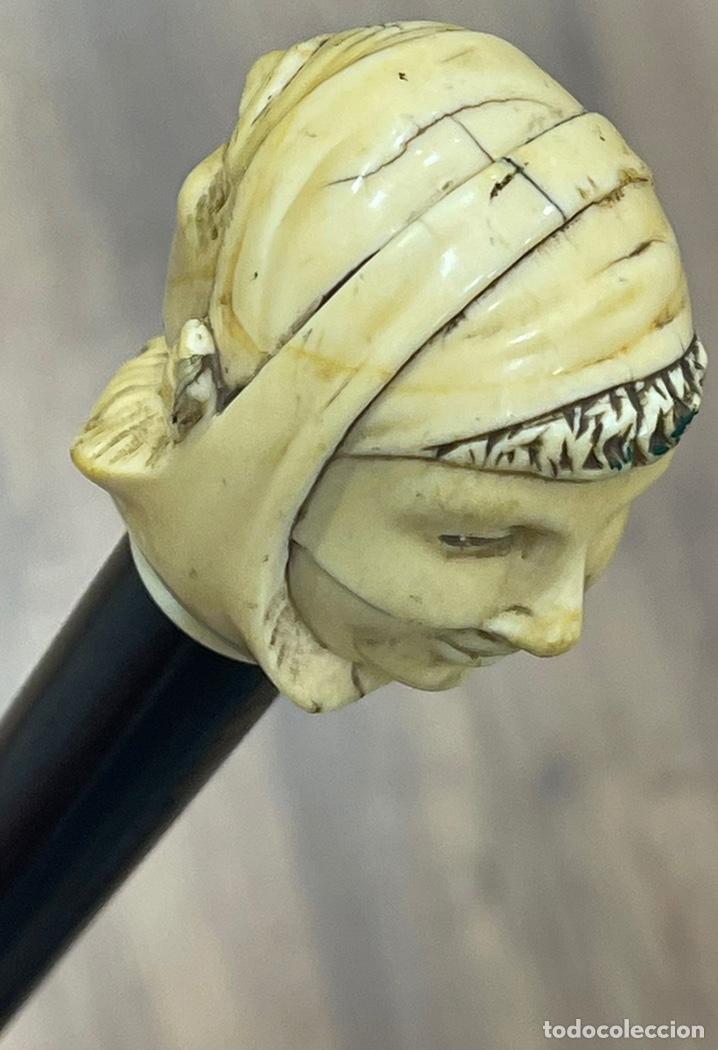 Antigüedades: Extraordinario bastón antiguo, con mango en marfil tallado, por gran maestro - Foto 13 - 251651505