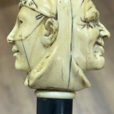 Antigüedades: EXTRAORDINARIO BASTÓN ANTIGUO, CON MANGO EN MARFIL TALLADO, POR GRAN MAESTRO. Lote 251651505
