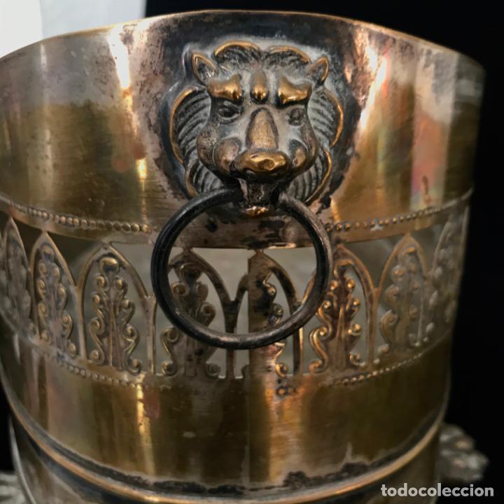 Antigüedades: Jardinera grande de metal o latón. 43 cm - Foto 4 - 251743985