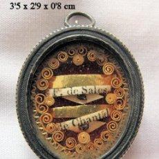Oggetti Antichi: RELICARIO ANTIGUO SAN FRANCISCO DE SALES Y CHANTAL PLATA. Lote 251836045