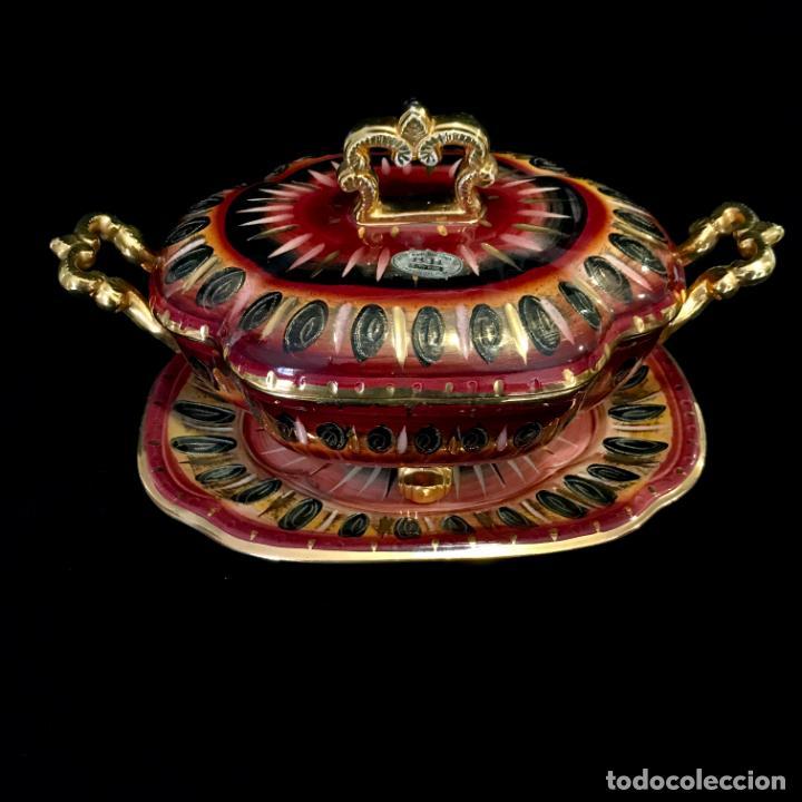 Antigüedades: Antigua sopera pintada a mano por Hubert Bequet, Quaregnon Bélgica. Años 30 - Foto 3 - 251836170