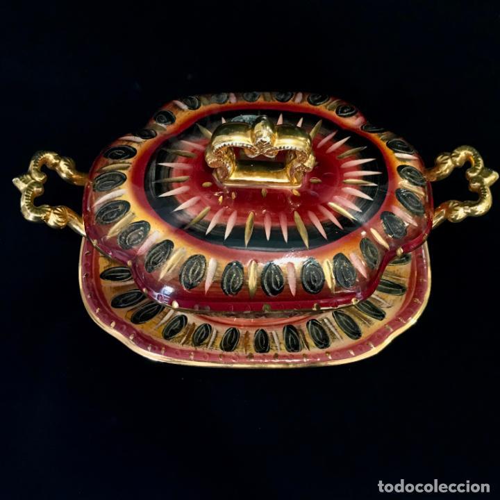 Antigüedades: Antigua sopera pintada a mano por Hubert Bequet, Quaregnon Bélgica. Años 30 - Foto 4 - 251836170