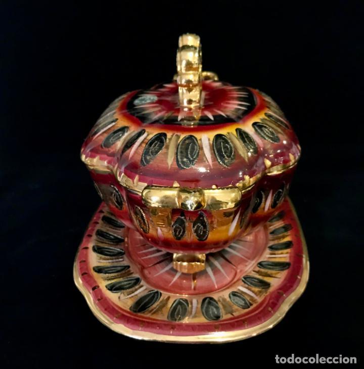 Antigüedades: Antigua sopera pintada a mano por Hubert Bequet, Quaregnon Bélgica. Años 30 - Foto 5 - 251836170