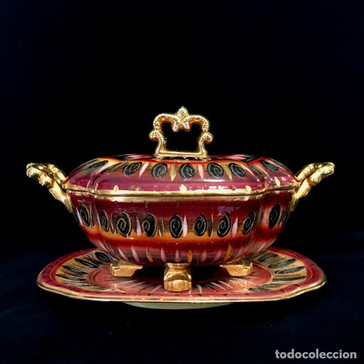 Antigüedades: Antigua sopera pintada a mano por Hubert Bequet, Quaregnon Bélgica. Años 30 - Foto 6 - 251836170