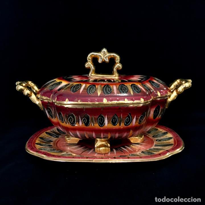 ANTIGUA SOPERA PINTADA A MANO POR HUBERT BEQUET, QUAREGNON BÉLGICA. AÑOS 30 (Antigüedades - Porcelanas y Cerámicas - Otras)