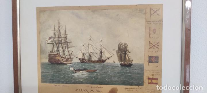 Antigüedades: Cuadro Náutico - Marina Militar - Museo Naval Madrid - Foto 2 - 251908735