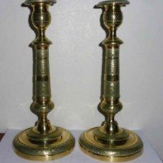 Antigüedades: EXCEPCIONAL PAREJA DE CANDELABROS EN BRONCE. SIGLO XIX. Lote 251995425
