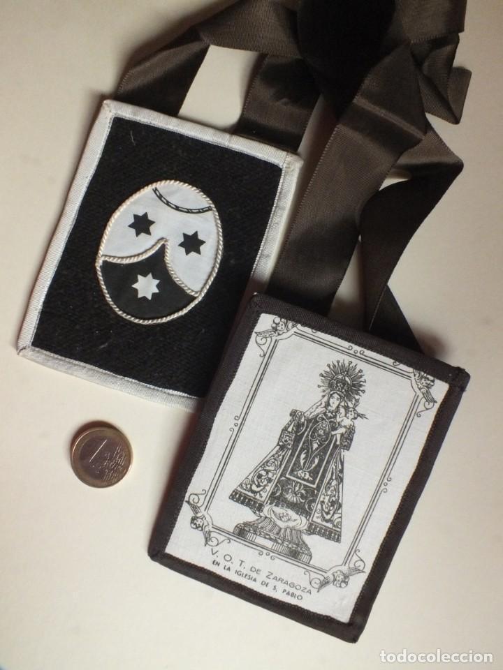 Antigüedades: GRAN Escapulario V.O.T. de Zaragoza VIRGEN DEL CARMEN IGLESIA DE SAN PABLO ESCUDO CARMELITAS - Foto 4 - 252025130