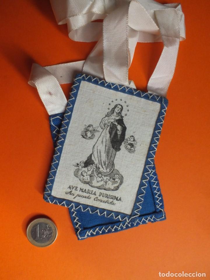 GRAN ESCAPULARIO VIRGEN INMACULA AVE MARÍA PURISIMA GRABADO EN TELA CON CINTAS (Antigüedades - Religiosas - Escapularios Antiguos)