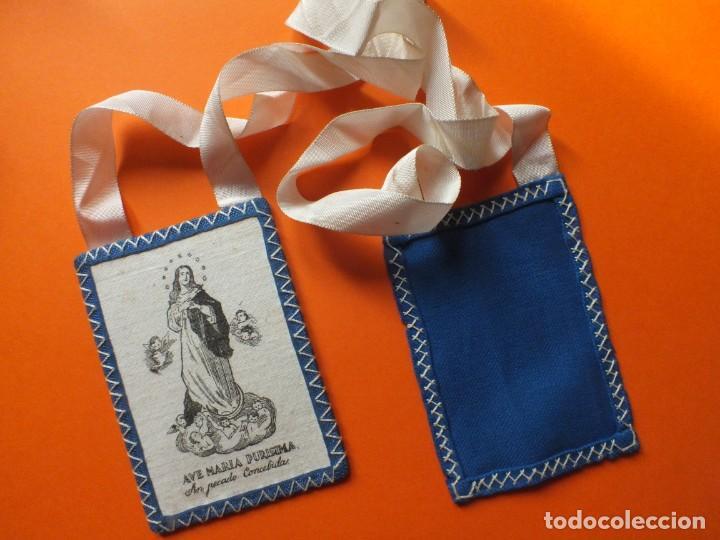Antigüedades: Gran escapulario virgen Inmacula Ave María Purisima grabado en tela con cintas - Foto 3 - 252042955