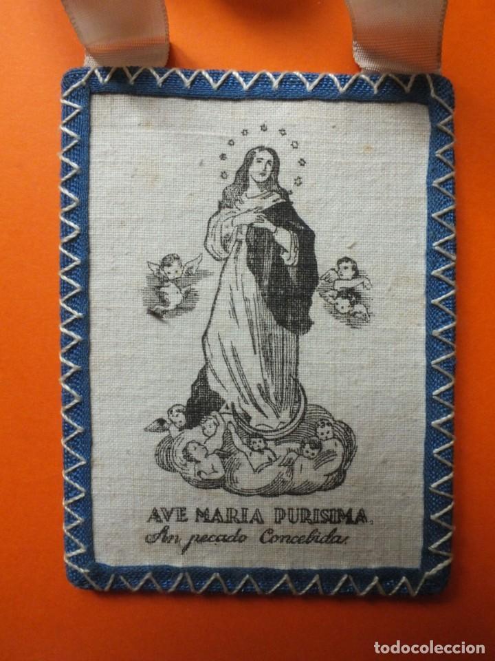 Antigüedades: Gran escapulario virgen Inmacula Ave María Purisima grabado en tela con cintas - Foto 4 - 252042955