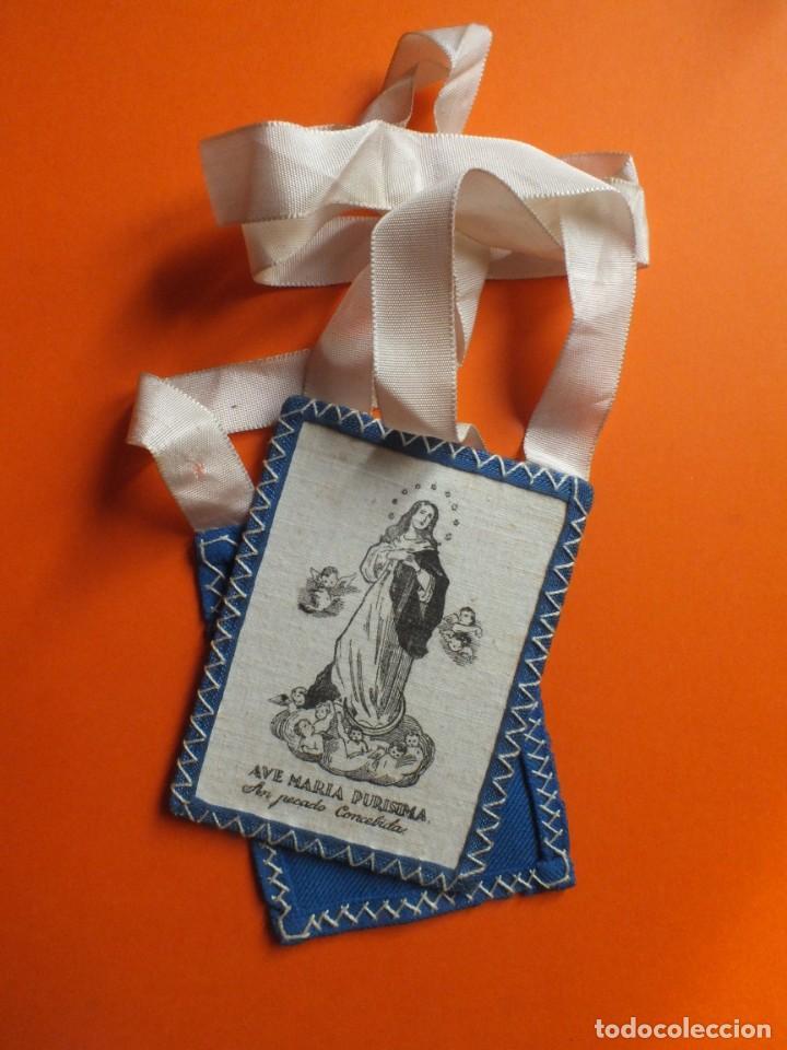 Antigüedades: Gran escapulario virgen Inmacula Ave María Purisima grabado en tela con cintas - Foto 6 - 252042955
