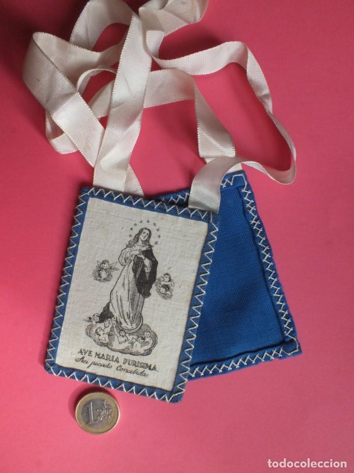 Antigüedades: Gran escapulario virgen Inmacula Ave María Purisima grabado en tela con cintas - Foto 7 - 252042955