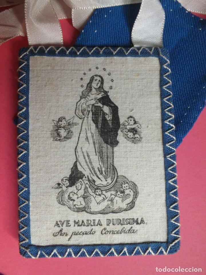 Antigüedades: Gran escapulario virgen Inmacula Ave María Purisima grabado en tela con cintas - Foto 9 - 252042955