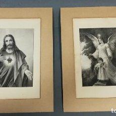 Antigüedades: LAMINAS SAGRADO CORAZON DE JESUS Y UN ANGEL. Lote 252106990