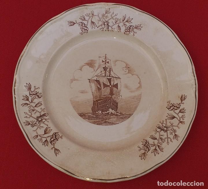 Antigüedades: 6 PLATOS PLANOS CERÁMICA DE OVIEDO, PRINCIPIOS DEL SIGLO XX - Foto 12 - 252168465