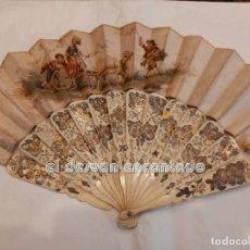 Antigüedades: ABANICO ORIGINAL S. XIX. VARILLAJE DE MARFIL CON INCRUSTACIONES DE PLATA. A RESTAURAR. VER FOTOS. Lote 252205780