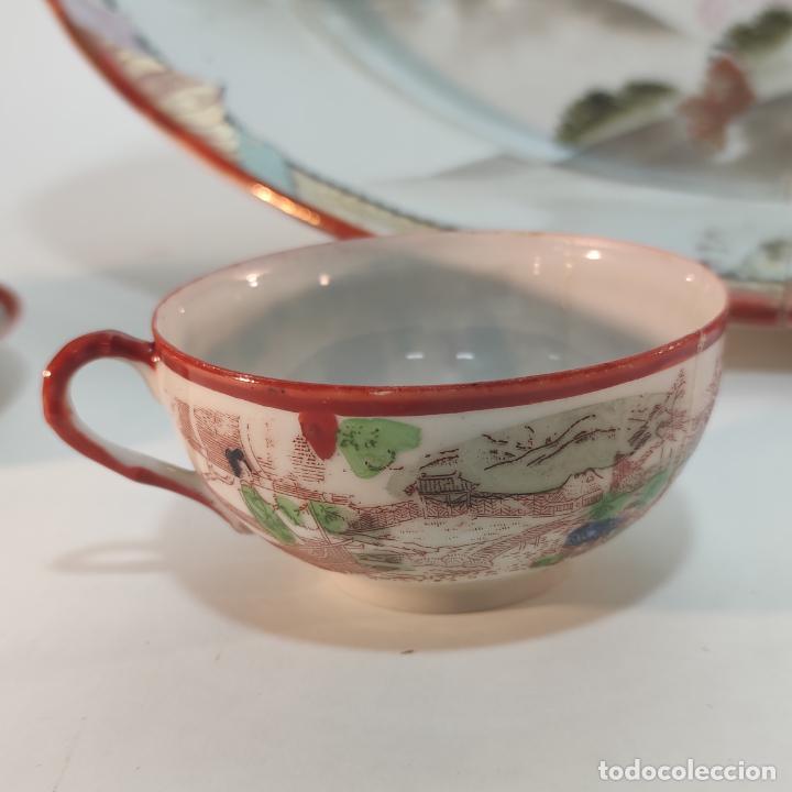 Antigüedades: Espectacular conjunto de piezas de porcelana japonesa Kutani. Enorme fuente firmada de 51 cm. - Foto 7 - 252213700