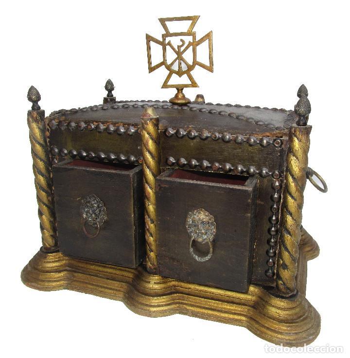 Antigüedades: BAUL ARCA COFRE SAGRADO OSTIARIO RELIQUIARIO JOYERO RELIGIOSO IMPERIO - Foto 4 - 252231290