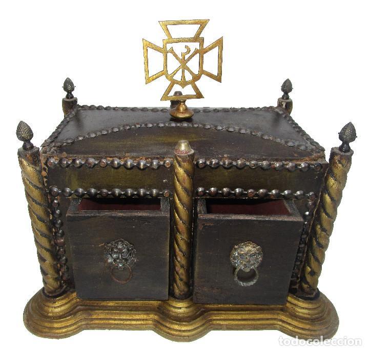 Antigüedades: BAUL ARCA COFRE SAGRADO OSTIARIO RELIQUIARIO JOYERO RELIGIOSO IMPERIO - Foto 6 - 252231290