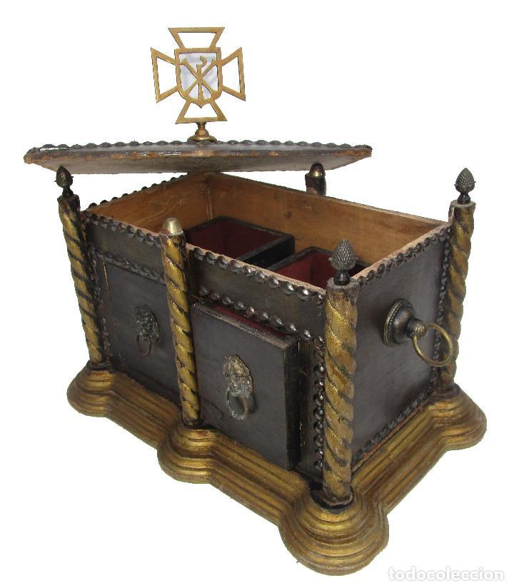 Antigüedades: BAUL ARCA COFRE SAGRADO OSTIARIO RELIQUIARIO JOYERO RELIGIOSO IMPERIO - Foto 8 - 252231290