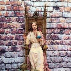 Antigüedades: FIGURA RELIGIOSA OLOT SAGRADO CORAZÓN DE JESÚS EN TRONO. Lote 252245840
